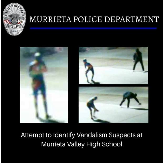 The Murrieta police department is seeking two suspects in a vandalism that occurred at Murrieta Valley High Schools campus on April 23, according to officials (Courtesy of the Murrieta Police Department).