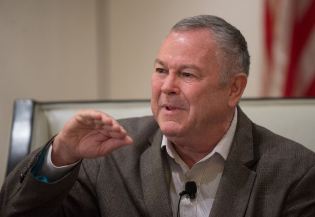 Rep. Dana Rohrabacher, R- Costa Mesa, makes a point during the OC Forum luncheon at the Hilton Irvine. Rohrabacher joined Rep. Loretta Sanchez, D-Santa Ana, as each gave their congressional update to attendees.>>>>ADDITIONAL INFORMATION: slug: ocforum.0321 03/20/14 Photo by Eugene Garcia, Staff Photographer Orange County Register