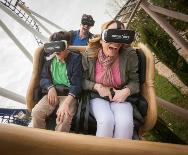 Riders wear virtual reality goggles while riding the Pegasus Coastiality coaster at the Europa theme park in Germany. The new version of the ride was developed by Mack Rides, based in Germany. (Photo courtesy: Mack Rides)