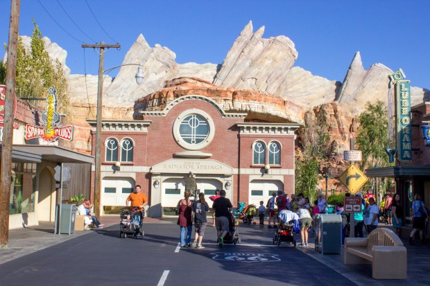 """The courthouse for the fictional town of Radiator Springs from the Disney-Pixar movie """"Cars"""" has the Cadillac Mountain Range as a backdrop in the Cars Land area at Disney California Adventure. Visitors to the land will feel like they are walking through the fictional cartoon town in the land at the theme park. (File photo by Mark Eades, Orange County Register/SCNG)"""