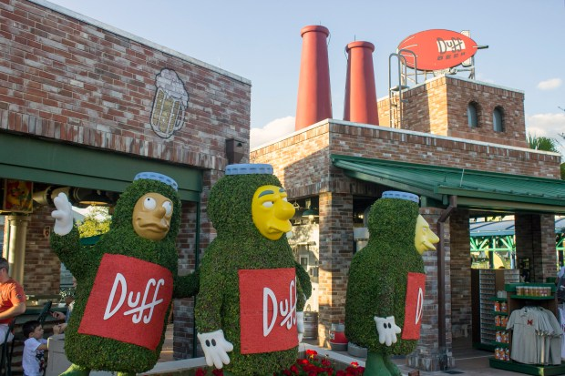 """Duff Brewery is a great place to grab some suds, a beer, in Springfield at Universal Studios Florida. While sitting inside the brewery, many visitors will feel like they're in the town of Springfield in the television show """"The Simpsons."""" (Photo by Mark Eades, Orange County Register/SCNG)"""