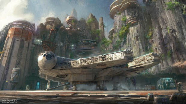 """The Millennium Falcon will be a part of """"Star Wars"""" Land at Disneyland and Disney Hollywood Studios. Thanks to new technology, Disney plans to have stories change and evolve for individual visitors to the 14-acre land, making them believe they have been transported to a never-before-seen planet, where there is a remote trading port and one of the last stops before wild space, making Star Wars characters and their stories come to life. (Photo courtesy, The Disneyland Resort)"""