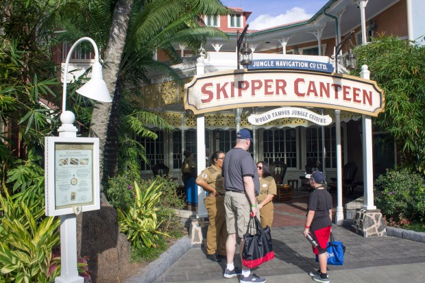 The entrance to the Jungle Navigation Co. Ltd. Skipper Canteen, a table service restaurant in Adventureland at Walt Disney World's Magic Kingdom. Food offerings here take their inspiration from exotic jungle locales in Asia, Africa and South America. (Photo by Mark Eades, Orange County Register/SCNG)