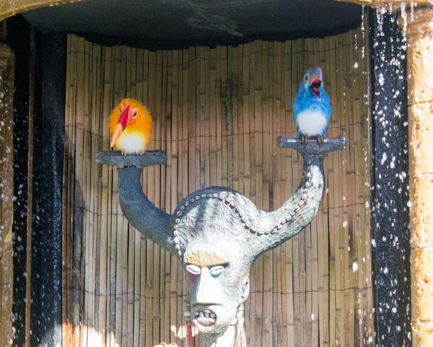 Clyde and Claude are two Audio-Animatronics toucans sitting atop a Tiki statue. The pair entertain visitors waiting to go inside Walt Disney's Enchanted Tiki Room in Adventureland at the Magic Kingdom theme park of Walt Disney World. (Photo by Mark Eades, Orange County Register/SCNG)