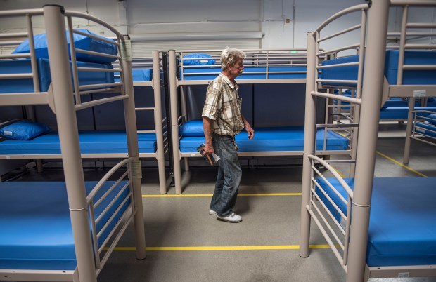 Paul Hyek, who has been homeless for two years, explores the new Bridges at Kraemer Place in Anaheim on Thursday, May 4, 2017. He will be moving into the shelter this weekend when it officially opens.