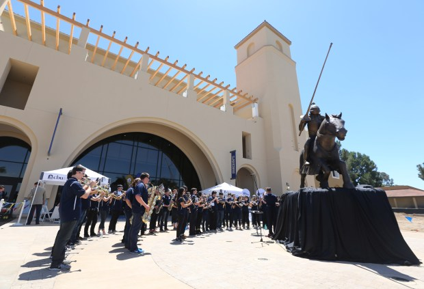 Members of the Cal Baptist University band perform during the dedication ceremony of the new events center on Thursday, May 4, 2017, in Riverside.(Stan Lim, The Press-Enterprise/SCNG)