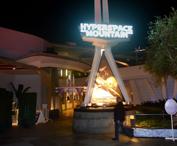 The Hyperspace Mountain overlay on Space Mountain at Disneyland. (File photo by: Bill Alkofer, Orange County Register/SCNG)