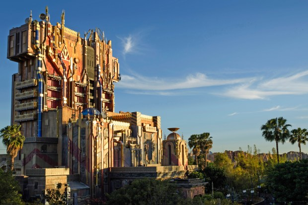 """What was the Tower of Terror at Disney California Adventure is now """"The Collector's"""" imposing Fortress, and is the home for Guardians of the Galaxy - Mission: BREAKOUT! The new ride will take riders through the fortress of The Collector, who is keeping his newest acquisitions, the Guardians of the Galaxy, as prisoners. Guests will board a gantry lift which launches them into a daring adventure as they join the character of Rocket in an attempt to set free his fellow Guardians. (Photo courtesy: The Disneyland Resort)"""