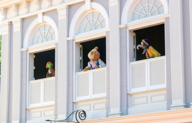The Muppets put on a fun-loving show about the Revolutionary War period of the United States of America in Liberty Square during the day at the Magic Kingdom of Walt Disney World. The Muppets seen here are (l-r) Kermit the Frog, Fozzie Bear and Gonzo. (Photo by Mark Eades, Orange County Register/SCNG)