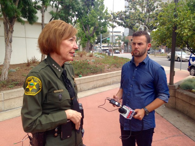 Orange County Sheriff Sandra Hutchens spoke with reporters shortly after the Board of Supervisors approved her request to expand the county's contract to jail undocumented immigrants arrested by federal immigration agents. (Photo by Jordan Graham, Orange County Register/SCNG)