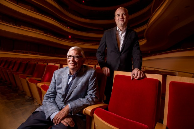 Retiring Artistic Director of the Pacific Chorale John Alexander, left, with his successor Robert Istad in Costa Mesa on Tuesday, May 2, 2017. Istad has been the chorale's assistant conductor for the past 10 years. (Photo by Paul Rodriguez, Orange County Register/SCNG)