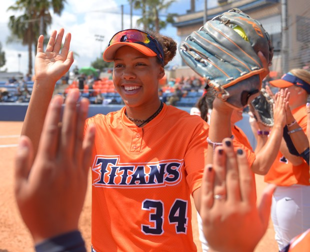 Ariana Williams is a sophomore for Fullerton softball (Photo courtesy of Matt Brown, Cal State Fullerton)
