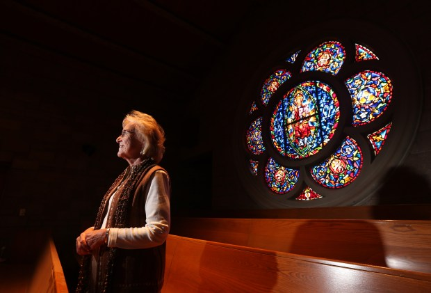 Rev. Linda Brown and her church, Eden Lutheran Church, will be part of the event, Doors Open, where the public can tour historical buildings in the downtown Riverside area on Thursday. One of Pastor Brown's favorite features of the church is a stain glass piece that is on the second floor of the church. (Stan Lim, The Press-Enterprise/SCNG)