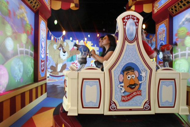 Riders on Toy Story Midway Mania at Disney California Adventure have to wear 3D glasses to be able to see the screens properly, and play the game. (File photo by Joshua Sudock, Orange County Register/SCNG)