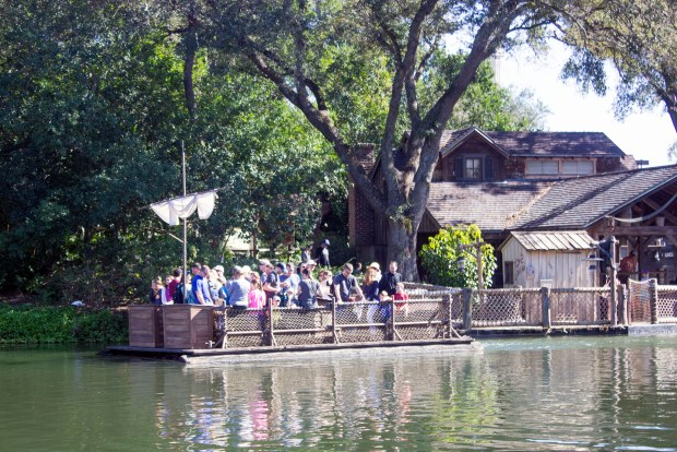 Visitors seeking adventure on Tom Sawyer Island must get there via raft across the Rivers of America in Frontierland at the Magic Kingdom of Walt Disney World. (Photo by Mark Eades, Orange County Register/SCNG)