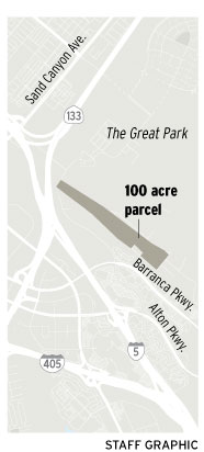 The map shows 100-acre land owned by Orange County in Irvine just south of the Orange County Great Park. (Staff graffic)
