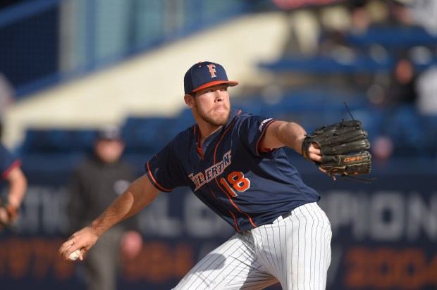 Conine is Cal State Fullerton's top closer this year (Photo courtesy of Matt Brown/Cal State Fullerton)