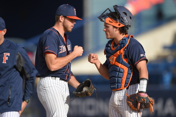 Conine is a sophomore for Cal State Fullerton baseball (Photo courtesy of Matt Brown/Cal State Fullerton).