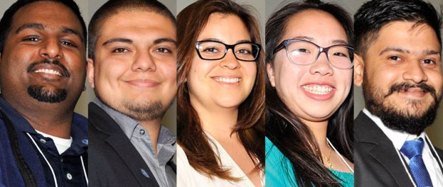 From left, Raj Divi, Nick Gomez, Stacy Guzman, Trini Nguyen and Mayur Parmar won first place awards in the California State University Student Research Competition. (Photos courtesy of Cal State Fullerton)