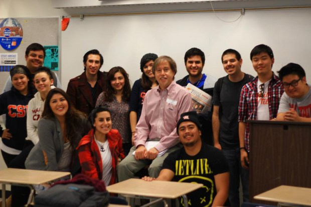 Communications professor Jeff Brody with students on the Tusk staff in 2014. (Courtesy of Cal State Fullerton)