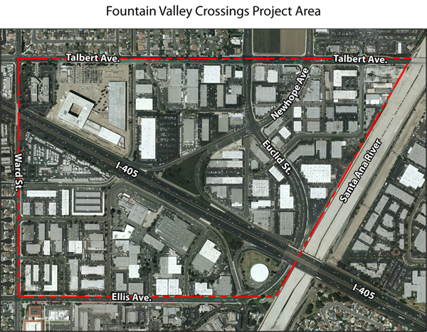 Area envisioned for proposed Foutain Valley Crossings rezoning plan./ COURTESY CITY OF FOUNTAIN VALLEY