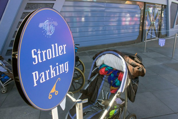 This is a designated stroller parking area in Tomorrowland at Disneyland near the Star Tours attraction. While it sits empty, most visitors with strollers prefer to park them underneath the old Peoplemover track. (Photo by Mark Eades, Orange County Register/SCNG)