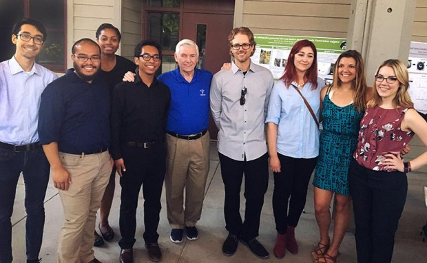 Physics alum and donor Dan Black, center, poses May 4 with students who benefited from the gift challenge that funded undergraduate science and mathematics research experiences. (Photo courtesy of Cal State Fullerton)
