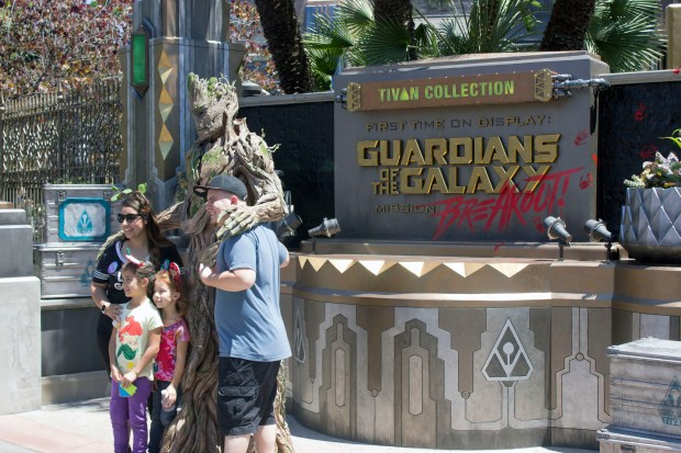 """Visitors to Disney California Adventure have their photo taken with the character of Groot from the """"Guardians of the Galaxy"""" movies, in front of the new attraction at the theme park based on the movies on the first day it was open, Saturday, May 27, 2017. (Photo by Mark Eades, Orange County Register/SCNG)"""
