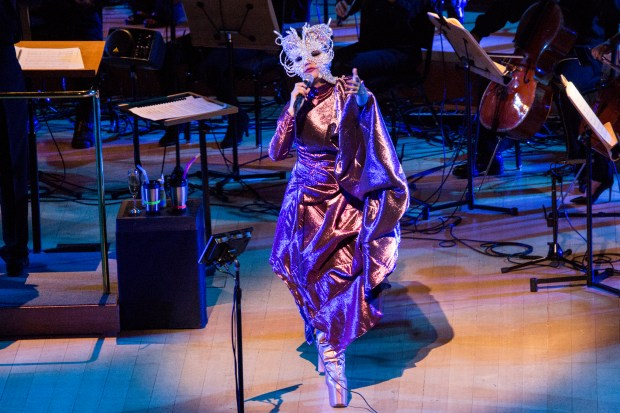 Björk sings during the second half of her sold-out show at Walt Disney Concert Hall in Los Angeles on Tuesday. An orchestra of 32 string musicians accompanied her.Photo by Santiago Felipe