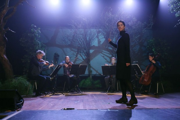 """Kronos Quartet with composer Lisa Bielawa conducting episode 1 of """"Vireo,"""" shot at the Yost Theater in Santa Ana. (Photo courtesy of Remsen Allard)"""