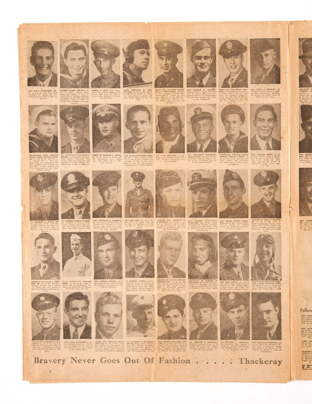 A page from a 1945 edition of The Orange County Register that paid tribute to those from Orange County who died during World War II. (File)