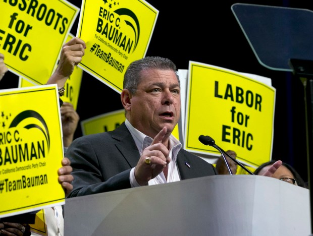 Eric Bauman, who would go on to win a tight race for California Democratic Party chairman, addresses the party convention in Sacramento in this May file photo.