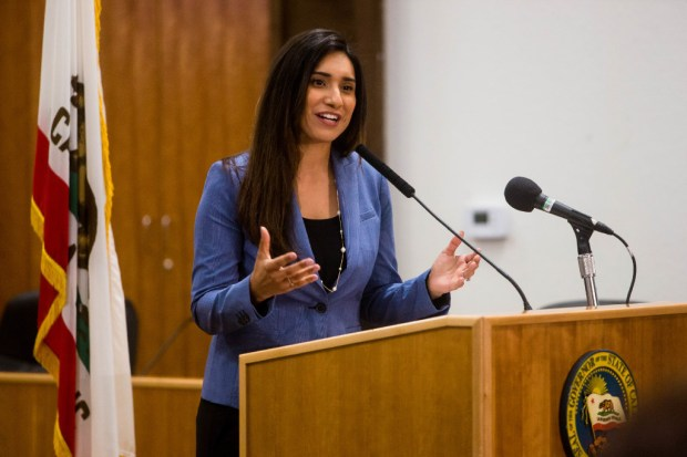 Assemblywoman Sabrina Cervantes, D-Riverside, speaks at a bill signing ceremony attended by Gov. Jerry Brown in Jurupa Valley on May 12.