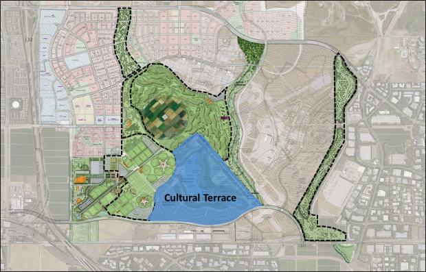 A map shows the Orange County Great Park's future Cultural Terrace site, a 233-acre area where Irvine is considering an amphitheater, a lake, a library and museums. (Courtesy of city of Irvine)