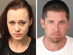 Heather Hutchinson, 23, (left) and Justin Robertson, 36, (right) were arrested when authorities pulled them over in Perris on Wednesday, May 3, 2017. Authorities say they found fraudulent documents at Robertson's home.