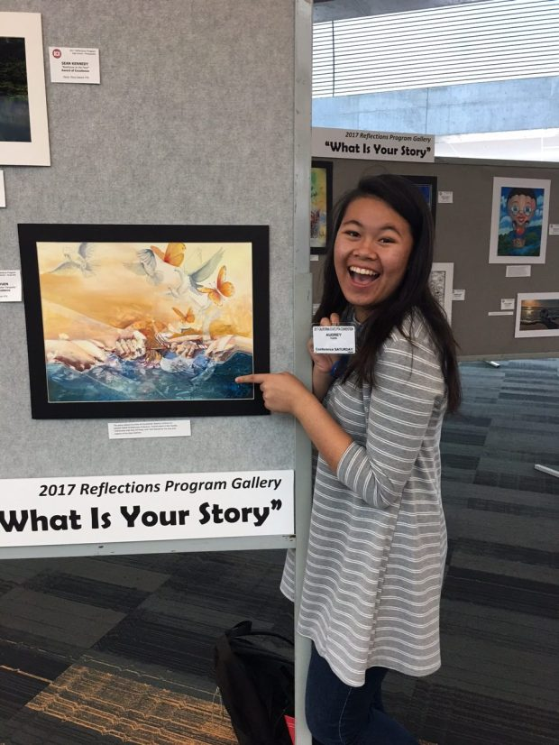 """Audrey Yeun with her painting """"From Broken Ends Come Tranquility."""" She won first place for visual arts in the California State PTA Reflections Art Contest."""