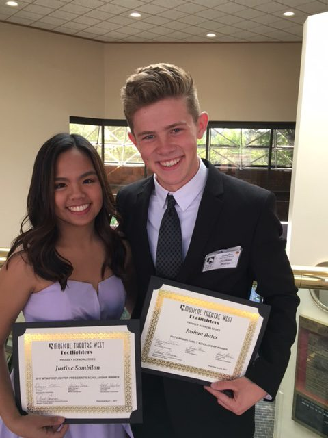 Justine Sombilon, left, and Joshua Bates for La Habra High School were awarded scholarships by Musical Theatre West. (Photo courtesy of Musical Theatre West)