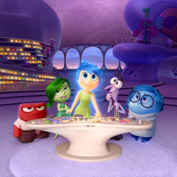 "FILE - In this file image released by Disney-Pixar, characters, from left, Anger, voiced by Lewis Black, Disgust, voiced by Mindy Kaling, Joy, voiced by Amy Poehler, Fear, voiced by Bill Hader, and Sadness, voiced by Phyllis Smith appear in a scene from ""Inside Out."" The movie releases in theaters on June 19, 2015. (Disney-Pixar via AP, File)"