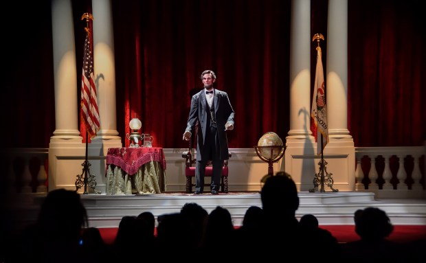 Visitors to the Opera House watch Great Moments with Mr. Lincoln on Main Street, U.S.A. in Anaheim, California, on Wednesday, June 28, 2017. (Photo by Jeff Gritchen, Orange County Register/SCNG)