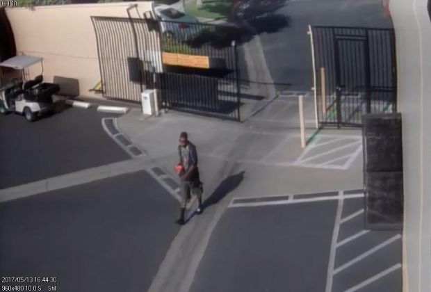 Placentia police released surveillance footage of a man suspected of robbing a self-storage employee and leaving him beaten and tied up. (Photo Courtesy of the Placentia Police Department)
