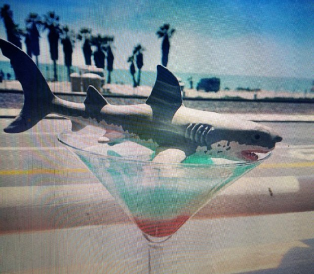 This drink, the Capistrano Shark Bite, is served at Sunset Bar & Grill across the sand from Capistrano Beach. (Photo courtesy of Donna Kalez)