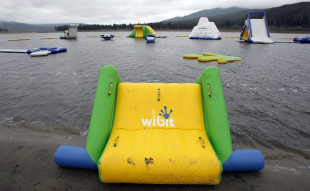Campers at Lake Hemet now can swim a Splash Island, the new Inflatable play attractions at Lake Hemet in Garner Valley, May, 23, 2015.