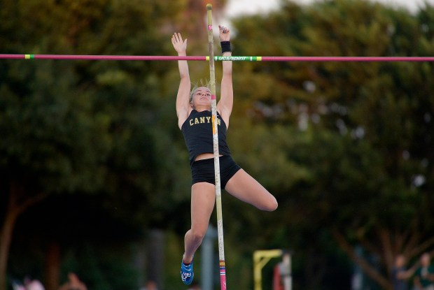 Canyon's Rachel Baxter during the pole vault during the 99th annual CIF State Track & Field Championships in Veterans Memorial Stadium at Buchanan High School in Clovis, Calif., on Saturday, June 03, 2017. (Photo by Keith Birmingham, Pasadena Star-News/SCNG)