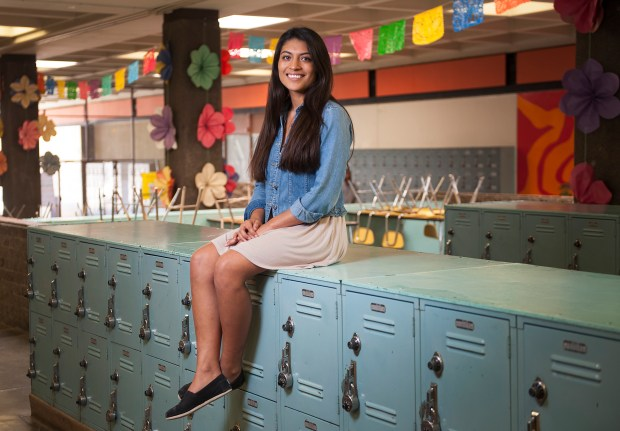 Los Amigos senior Ashley Sotelo will be the first member of her family to attend college when she starts at UCLA in the fall, but getting there wasn't easy. Sotelo overcame family turmoil including her brother being killed by gang violence and her father being deported, and credits her school's AVID program for getting her on track for college. Friday, June 9, 2017. (Photo by Nick Agro, Orange County Register/SCNG)