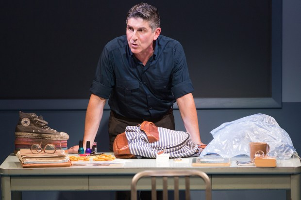"Playwright and actor James Lecesne portrays New Jersey detective Chuck DeSantis – and delivers tour-de-force acting work in playing all of the characters in his 2015 play ""The Absolute Brightness of Leonard Pelkey."" (Photo by Matthew Murphy)"