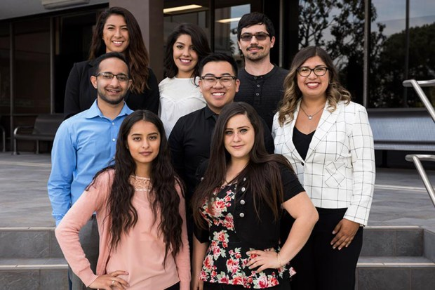 Cal State Fullerton students participating in the Global Titans Leadership Program are: Front row, from left, Lucero Sosa and Diana Greer; middle row, Dylan Azevedo, Andrew Vo and Maddie Ybarra; back row, Whitney Sasao, Yuliana Carrillo and Andrew Adsen. (Photo courtesy of Cal State Fullerton)