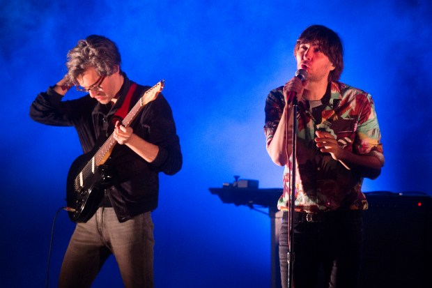 Thomas Mars, right, of Phoenix performs at the Hollywood Bowl in Los Angeles on Thursday, June 15, 2017. (Photo by Drew A. Kelley, Contributing Photographer)