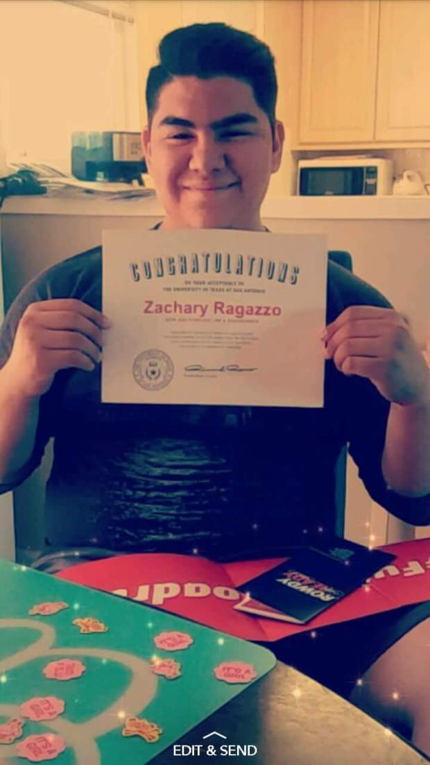 Zachary Ragazzo, SavannaUniversity of Texas at San Antonio: mechanical engineering major; music, undeclared minor (Photo courtesy of Zachary Ragazzo)