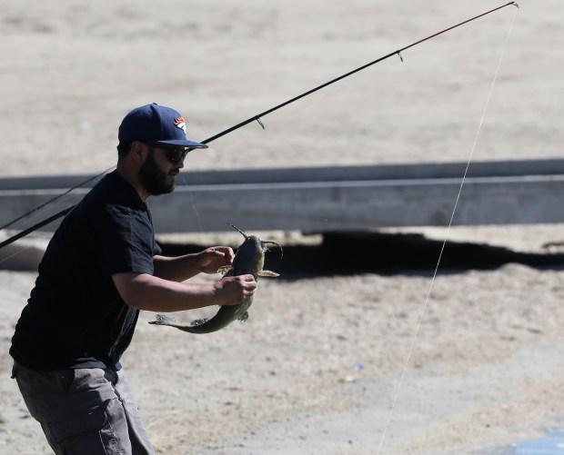 Memo Guevara, 36, from Lake Elsinore looks at the catfish he caught fishing in Lake Elsinore Wednesday, June 14, 2017. FRANK BELLINO, THE PRESS-ENTERPRISE/SCNG
