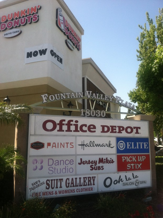 Fountain Valley is looking to move away from shopping centers dominated by stuggling businesses such as office supply and gift stores for a more modern way to attract customers and tax dollars. Photo Greg Mellen, Staff